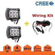 2X 4inch 18W Spot CREE LED Work Light Driving Fog Lamp Offroad SUV+ Wiring Kit