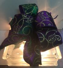 Christmas Holiday Lighted Glass BLOCK Purple & Green Ribbon with Gold Glitter