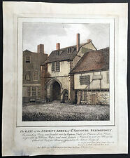 1794 Smith Antique Print of Ancient Abbey Gate of St Saviours Bermondsey, London