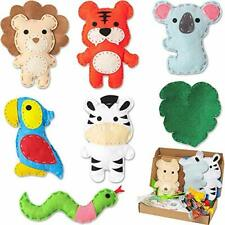 WATINC 7Pcs Jungle Animal Felt Sewing Kit for Kids, Cute Stuffed Wild Animals