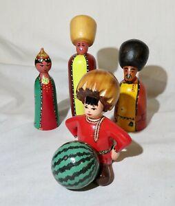 Lot of 4 Wooden figures, Russian, India, Folk Art Wood Figures, Handpainted