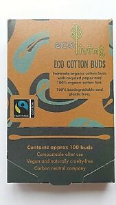 Set of 4 Ecoliving 100 white organic cotton buds