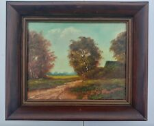 VINTAGE OIL PAINTING RARE HOLLAND COUNTRY ROAD LANDSCAPE H. WESTER  Mid CENTURY