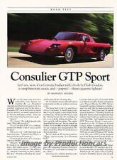 1991 Consulier GTP Mosler Road Test Car Review Report Print Article J845