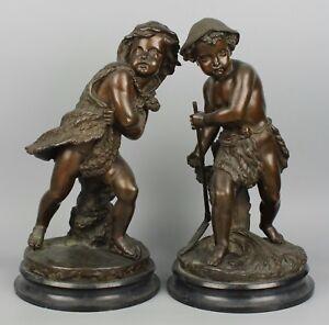 """Eugene Laurent (french,1832-1898) bronzes """"Summer & Winter"""""""