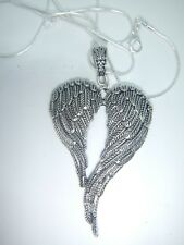 TIBETAN SILVER CROSSED ANGEL WINGS ON 26'' STERLING SILVER SNAKE CHAIN NECKLACE