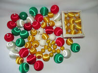 70 Satin Sheen Christmas Ornaments Pyramid Green White Red Gold Unbreakable