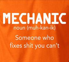Funny Car MECHANIC Fixes Stuff T-Shirt Noun Definition 100% Ringspun Coton Tee