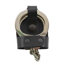 """Perfect Fit Leather Bikini Handcuff Case Black Snap 2"""" Belt Clip Standard Cuffs"""