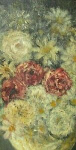 VINTAGE FOLK ART OIL PAINTING FLORAL STILL LIFE COUNTRY PRIMITIVE IMPRESSIONISM