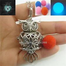 the Dark Owl Locket Chain Necklace Vintage Aromatherapy Diffuser Glowing Glow in
