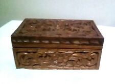 Vintage Hand Carved wooden trinket box