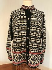 Beautiful L.L.Bean Nordic Wool Cardigan Sweater Red/Black Great Buttons Size L