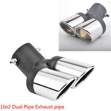Car 63mm Modification Stainless Steel 1 to 2 Dual Pipe Exhaust Muffler Tip Pipe