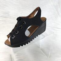 Bernie Mev Marcelo Women's Wedge Sandals Black Textile Lace Up Size 40 US 9.5-10