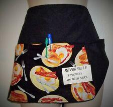 Black Reversible Bacon & Eggs waitress waist apron 3 pockets both side
