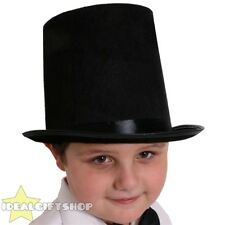 KIDS MAGICIAN FANCY DRESS COSTUME SET STOVEPIPE TOP HAT MAGIC WAND WHITE GLOVES
