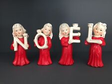 Vintage Relco Christmas Angel Candle Holder Figurines