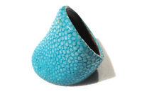 Bijou cuir Galuchat rare authentique bague jonc  taille 64 ring