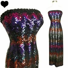 Vintage LILLI DIAMOND 60s 70s Sequin Column Party Dress XS S VLV Strapless Prom