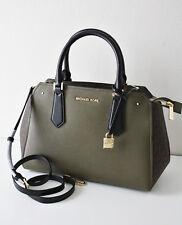 MICHAEL KORS TASCHE BAG HAYES LG SATCHEL Leather Leder olive