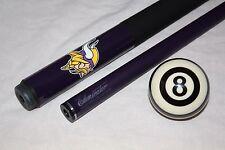 New NFL Minnesota VIKINGS Football Billiard Pool Cue Stick & Free Referee 8 Ball