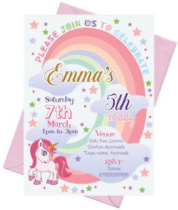 12 Personalised  A6 Unicorn Rainbow Party Invitations Invites Free Envelopes