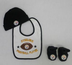 NFL Pittsburgh Steelers Newborn 3 Pack Bib, Cap and Booties 0-6 M