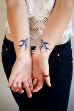 SHIP FROM NY - temporary tattoo - Set of 2 Delft Blue swallows