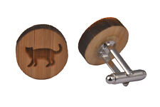Wooden Cufflinks - Cat Fat