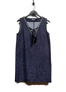 Miu Miu Dark Blue Denim Crystals Embellished Dress