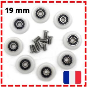 Lot de 8 roulettes / roues pour porte de douche, 19 mm, Salle de Bain, Pas cher