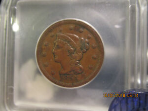1855 ICG  Braided Hair Large Cent  XF-45 +++ Upright 5's