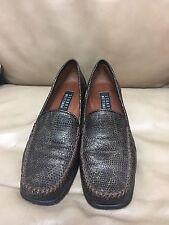 Stuart Weitzman Brown Loafers Moccasins Slip On Shoes Size 8B Snakeskin Pattern