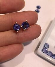 2ctw Tanzanite 6mm Round 14kt Gold Stud Earrings
