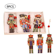 Christmas Tree Ornaments Decorations Xmas Hanging Walnut Soldier Wooden Pendan