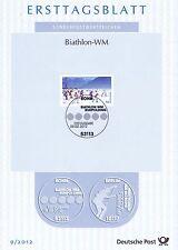BRD 2012: Biathlon-WM in Ruhpolding! Ersttagsblatt der Nr. 2912! 1803
