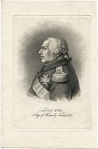 LOUIS XVIII (1755-1824) KING OF FRANCE & ORIGINAL ANTIQUE LITHOGRAPH PORTRAIT