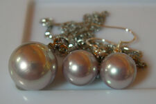 PENDENTIF + BO PERLES POURPRE PASTEL 14 mm et 10mm. SOUTH SEA SHELL PEARLS