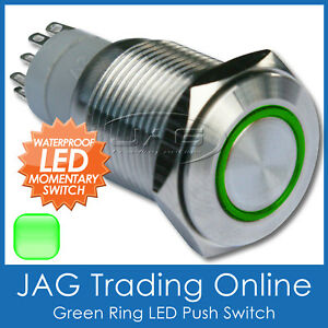 GREEN RING LED STAINLESS STEEL PUSH BUTTON MOMENTARY START SWITCH- Boat/Car/Horn