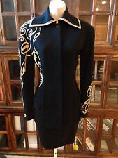 SPECTACULAR NEW GIANNI VERSACE BLACK & CREME WOOL SKIRT SUIT