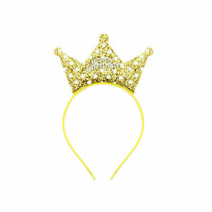 Haarreifen Happy Birthday Haarreif mit Pailletten Krone Kinder Geburtstag Gold