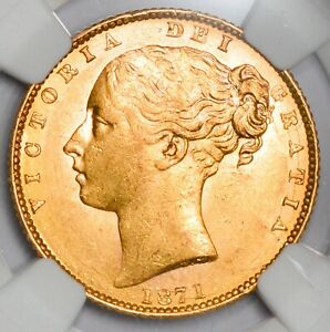 UNCIRCULATED 1871 Queen Victoria Gold Shield Sovereign -  Die Number 106