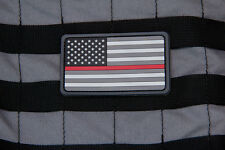 MSM Milspec Monkey PVC Morale Patch - USA US Flag Thin RED Line FIRE EMS URBAN