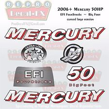 2006+ Mercury 50HP BF Crv Decal EFI Four Stroke Big Foot Repro 7Pc Curved