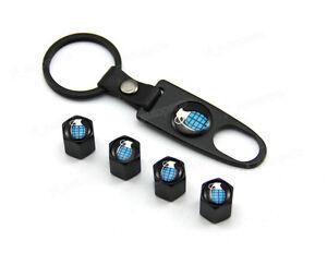 Black Tire Wheel Rim Stem Air Dust Valve Caps Wrench Key Chain Grenade Universal