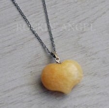 Stunning Natural Citrine Puffy Heart Pendant Necklace Reiki Healing Ladies Gift