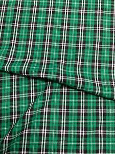 Verde Cuadros Escoceses a Algodón Mezcla Camisa Manualidades Prendas Tela 135gsm