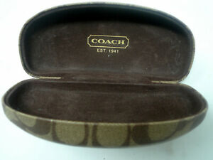 Coach Signature Tan Brown Hard Clamshell Sunglasses Glasses Case Monogram C