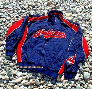 Cleveland Indians BASEBALL JACKET COAT BOMBER MAJESTIC BLUE RED MLB MEN L